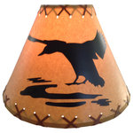 """Reel Lamps - 14"""" Diameter Duck Shade - Faux oil kraft laced lamp shade with lacing top and bottom"""