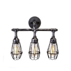 Admiral Industrial Bathroom Vanity Light Fixture, 3 Bulbs