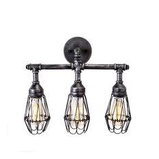 Brikk - Admiral Industrial Bathroom Vanity Light Fixture, 3 Bulbs - Bathroom Vanity Lighting