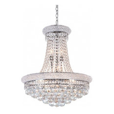 Clear Crystal Chandelier With Crystal Beaded and Chrome Frame