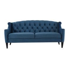 Ken Upholstered Sofa, Satin Teal