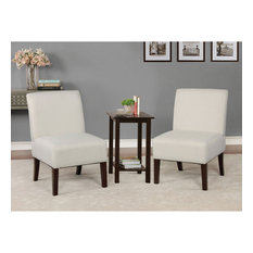3 Piece Wooden Accent Table And Chair Set Cream And Brown