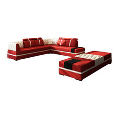 1st Avenue   Viviana 4 Piece Leather Sectional Sofa, Red And White    Sectional