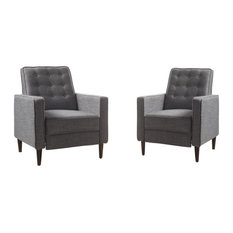 Marston Mid-Century Modern Button Tufted Fabric Recliner, Set of 2, Fabric/Gray