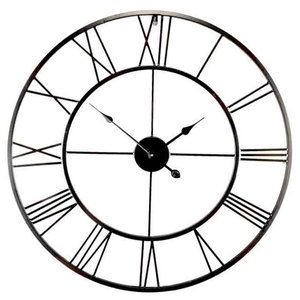 EMDE Openwork Round Metal Wall Clock, Black