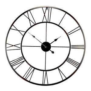 EMDE Openwork Round Metal Wall Clock, Black