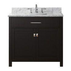 36-inch Single Bath Vanity In Espresso With Marble Top And Square Sink