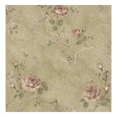 Gracie Brown Floral Scroll Wallpaper Wallpaper Swatch