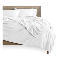 Bare Home Microplush Fleece Blanket, White, Full/Queen