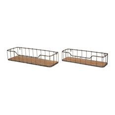 Farmhouse Wooden/Metal Wall Shelf, Set of 2