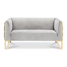 Kara Tufted Love Seat, Polished Gold Steel