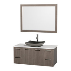 "Amare 48"" Gray Oak SGL Vanity, White Stone Top, Altair Sink, 46"" Mirror"