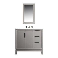 "Elizabeth 36"" Single Sink Carrara White Marble Vanity, Cashmere Gray"
