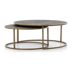 Saranna Nesting Coffee Table, Aged Brass