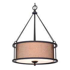 """Kira Home Maxwell 17.5"""" Traditional 3-Light Metal Drum Chandelier + Diffuser"""