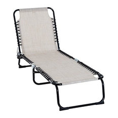 Outsunny 3-Position Outdoor Reclining Chaise Lounge Chair, Cream White