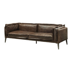 ACME Porchester Loveseat, Distress Chocolate Top Grain Leather