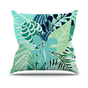"Anchobee ""Gungla"" Green Floral Outdoor Throw Pillow"
