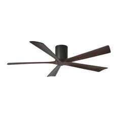 """Irene 5 Blade 60"""" Flushmount Paddle Fan, Black Finish, Walnut Blades"""