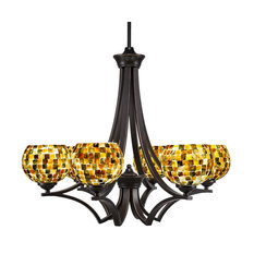 Zilo 6-Light Chandelier Dark Granite Sea Mist Seashell Glass