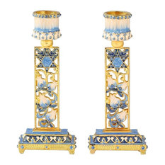 Shabbat Candlestick (2-Piece Set) Hand-Painted  Gold-Plated Pewter