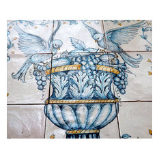 Decorative Ceramic Panel With Birds and Urn, 9 Tiles