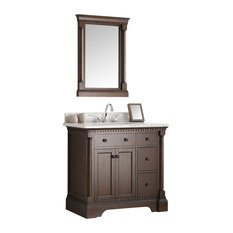 "Kingston 36"" Antique Coffee Bathroom Vanity and Mirror"