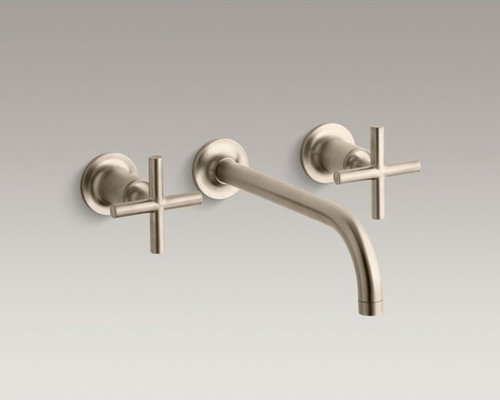 """Purist(R) wall-mount bathroom sink faucet trim with cross handles and  9"""" 90-deg - Bathroom Sink Faucets"""