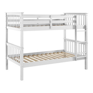 White Wood Finish Twin Bed Transitional Sleigh Beds