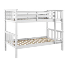 Walker Edison - Twin-Over-Twin Solid Wood Mission Design Bunk Bed, White - Bunk Beds