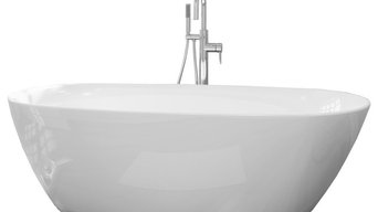 "Sequana Pure Acrylic 71"" All in One Oval Freestanding Tub Kit"