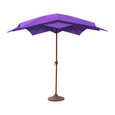 Outdoor Patio Lotus Umbrella With Hand Crank, Purple, 8.2'