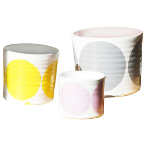 Spots Decorative Jars, Set of 3, Grey, Yellow and Pink