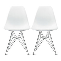 Plastic Dining Chair With Chrome Eiffel Wire Legs Set Of 2 White