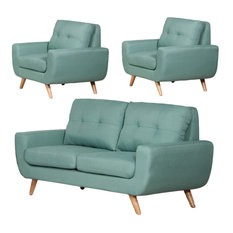 Irene 3-Piece Linen Love Seat and 2 Chairs Set, Teal