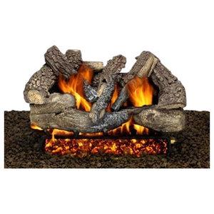 16 Birch Ceramic Fireplace Gas Logs 5 Piece Set Rustic Fireplace Accessories By Ethanol Fireplaces Houzz