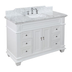 "Kitchen Bath Collection - Elizabeth Bath Vanity, Base: White, Top: Carrara Marble, 48"" - Bathroom Vanities and Sink Consoles"