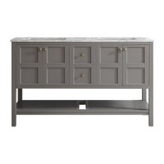 "Florence 60"" Double Vanity, Gray, Without Mirror"