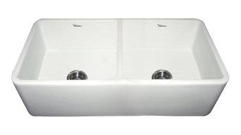Farmhouse Kitchen Duet Reversible Double Bowl Sink, White