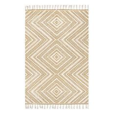 """nuLOOM Flatweave Cotton Nichola Trellis Geometric Area Rug, Beige, 7'6""""x9'6"""""""