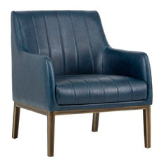 Sunpan 102580 Wolfe Lounge Chair, Rustic Bronze, Vintage Blue