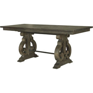 Magnussen Bellamy Rectangular Counter Table, Deep Weathered Pine