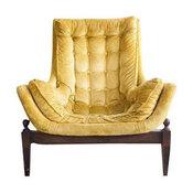 Mid-Century Yellow Velvet Tufted Bucket Chair