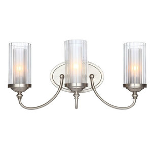 Lexington 3-Light Wall Mount, Satin Nickel, Clear Ribbed/Frosted Glass