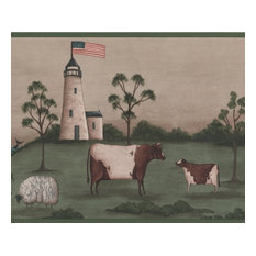 Lighthouse American Flag Sheep Cow Green Beige Wallpaper Border Retro Design