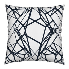 Large Scale Geometric Diamond Lines Navy Blue Throw Pillow Cover Organic Sateen