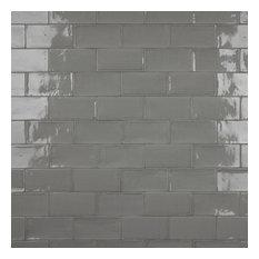 """Gloucester Ceramic Wall Tiles, 3""""x6"""", Gray"""