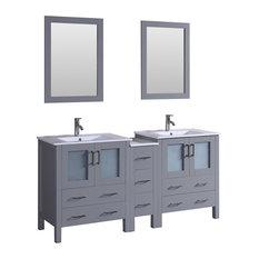 """72"""" Bosconi Gray Double Vanity"""