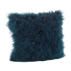 """Mongolian Lamb Fur Poly Filled Throw Pillow, Teal, 20""""x20"""""""