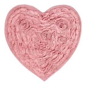 """Bellflower Flower Heart Rug, 25""""x25"""", Pink"""